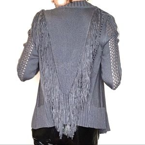 One A fringe open front sweater open work knit